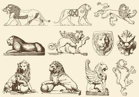 Ancient Art Lions vector