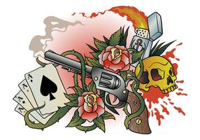Gun Old School Tattoo Vector
