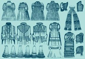 Lace Trim Clothes Set 2 vector