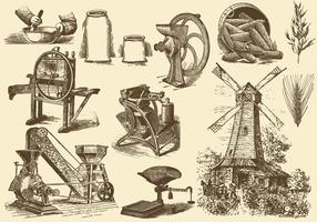 Graan En Molen Illustraties