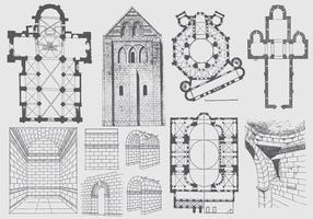 Plan d'architecture antique et illustrations