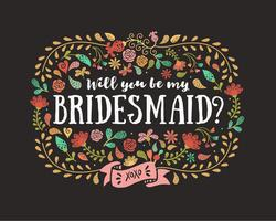 Vector Will You Be My Bridesmaid Card