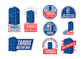 Politie Box Tardis Vector Labels