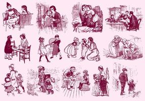 Vintage Familien-Illustrationen