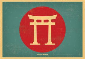 Japansk Retro Torii Gate Illustration
