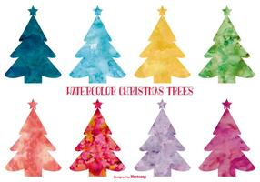 Watercolor Style Christmas Trees