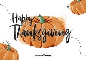 Thanksgiving Pumpkin Watercolor Vector