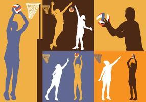 Vecteurs rétro de silhouette de netball