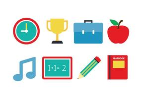 Free School Flat Icon Set