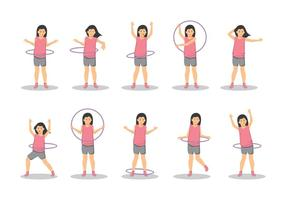 Libere a una muchacha con el vector del aro de Hula