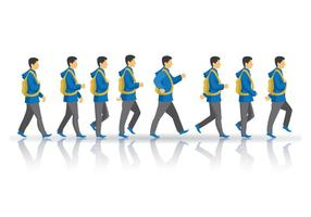 Teen Boy Walking Cycle Vector