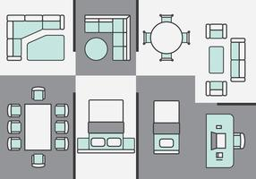 Architecture Plans Furniture Icons vector