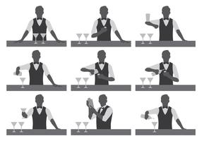 Bartender Vector Silhouettes