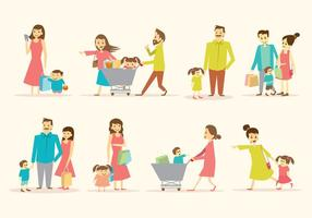 Free Family Shopping Together Vector