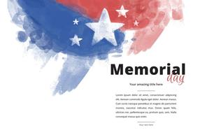 Patriotiska Memorial Day Akvarell Vector