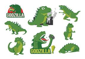 Gratis Godzilla Cartoon Vector