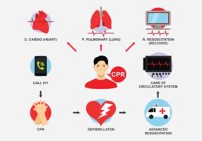 Resuscitation Cpr Icons Vector