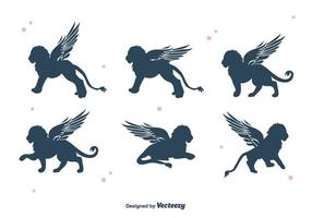 Winged Lion Silhouette Vektor