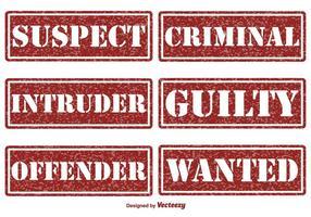 Francobolli vettoriali di criminalità e giustizia