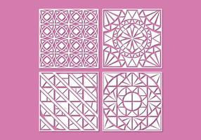 White geometric laser cut ornament vectors
