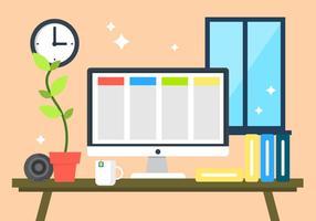 Flat Desk Illustration