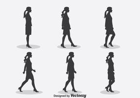 Kvinna Silhouette Walk Cycle Vector