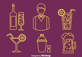 Barman Element Line Icons Vector