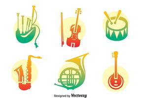 Conjunto de vetores de instrumentos musicais coloridos