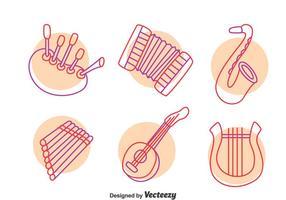 Mano dibujado vector de instrumentos de música