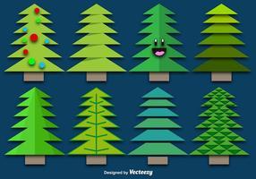Conjunto de árvores de papel de natal