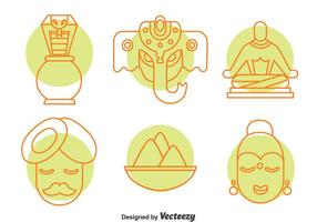 India Culture Element Icons Vector Set