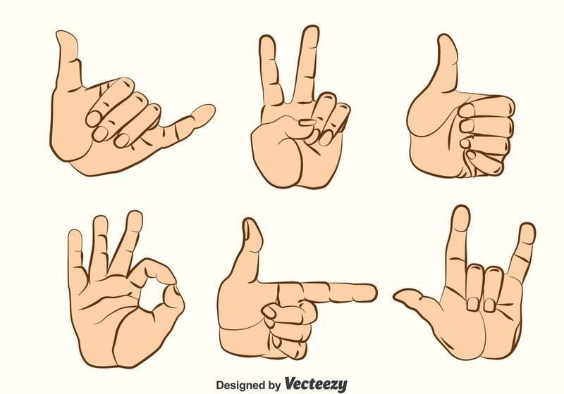 Hand Gestures Vector Set Download Free Vector Art Stock Graphics