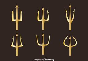 Gouden Poseidon Symbool Vector