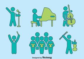 Handdragen musiker vektor uppsättning