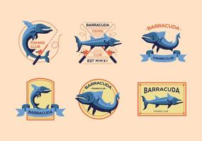 Barracuda viejo logotipo vintage vectores