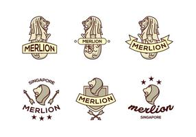 Merlion lion logo pack de vecteur