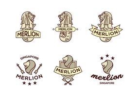 Merlion lejonlogo vektorpack
