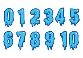 Wasser Schriftart Vektor Zahlen