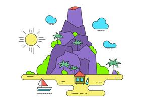 Vulkan vektor ön