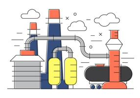 Oil Factory Vector Illustration