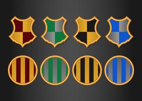 Set of wizard themed color schemed crests and badges
