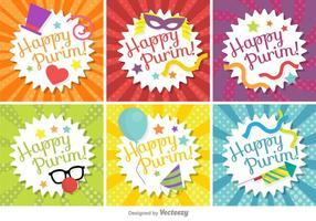 Glad Purim Tag Set Vector
