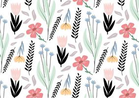 Black Flower Vector Pattern