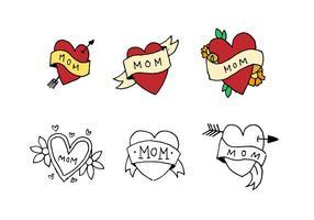 Mamma tatuering doodle uppsättning