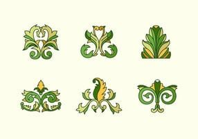 Acanthus outlined color floral vectors