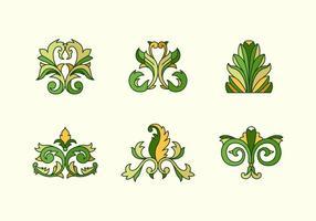 Acanthus skisserade färgblommiga vektorer