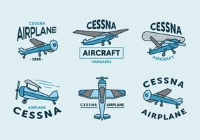 Vintage cessna logo pack de vecteur