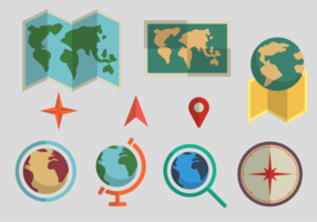 World Maps Flat Design Vectors