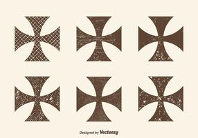 Gratis Grunge Maltese Cross Vector Set