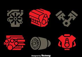 Vector pictogrammen van de pictogrammen van de motor